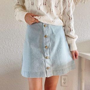 American Apparel Light Wash Mini Jean Skirt